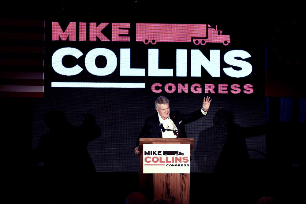 Mike Collins, a Republican running in Georgia's 10th Congressional District, kicks off his campaign Thursday, Sept. 16, 2021.