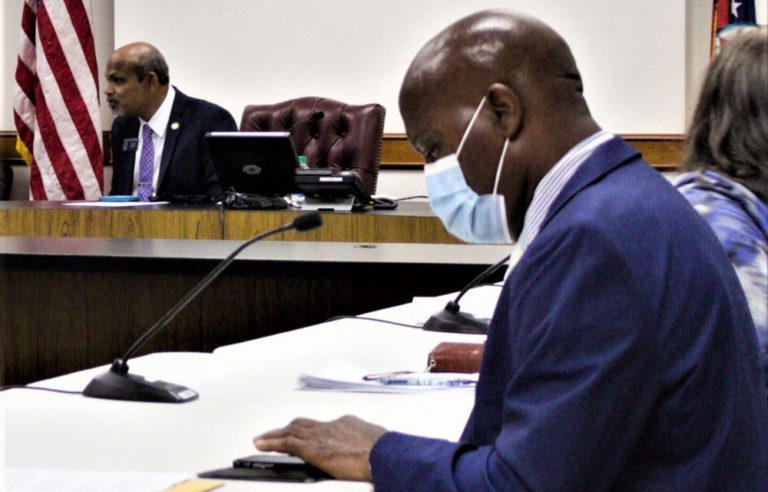 Zipangani Vokhiwa, a professor of science at Mercer University, (right) testifies before the Senate Outdoor Learning Study Committee chaired by Sen. Sheikh Rahman, a Democrat from Lawrenceville (left).