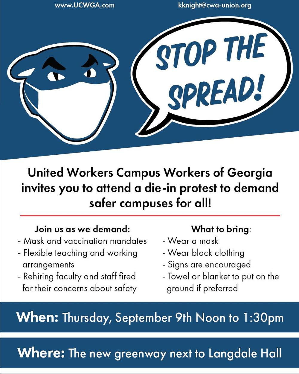 A flyer for a protest Thursday Sept. 9 at Georgia State University