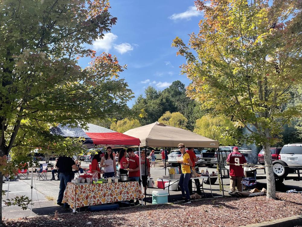 Members of Wildwood Baptist Church in Acworth host a tailgate after Sunday service.