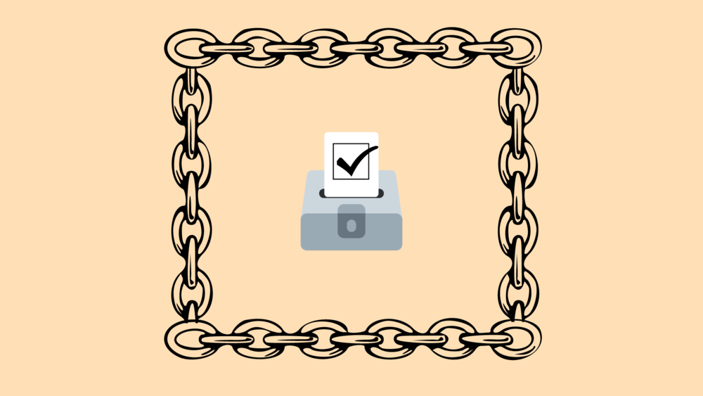An illustration of a ballot box protected by chains.