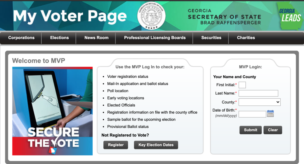 Georgia's My Voter Page allows voters to check voter registration status, register to vote, check key election dates and more.
