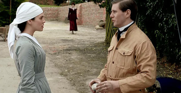 Even Iron Man loves Downton Abbey! Sybl and Branson's early courtship plays in a scene in Iron Man 3.