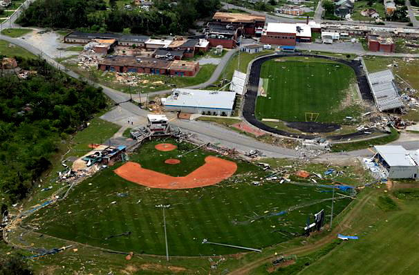 View of tornado damage at Ringgold High School.  Image at http://www.highschooltabloid.com