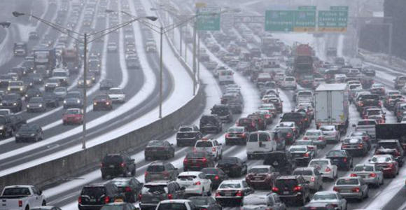 I tried to navigate through this type of traffic on Tuesday afternoon. (Image from blog.chron.com.)
