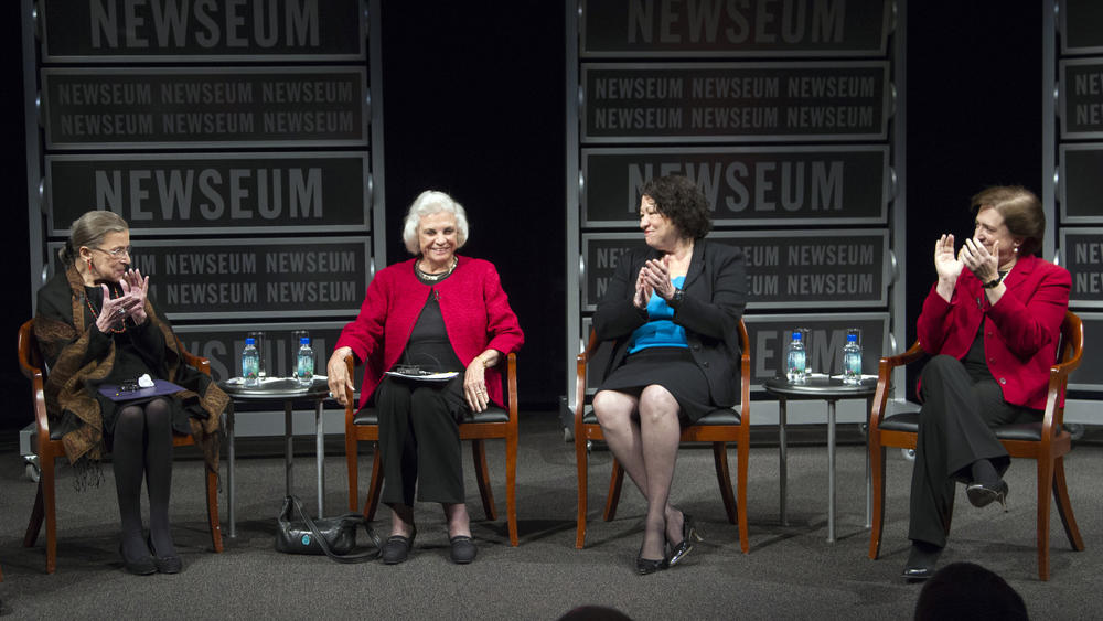Ginsburg (left) joins the only three other women to sit on the U.S. Supreme Court — Sandra Day O'Connor, Sonia Sotomayor and Elena Kagan — in a celebration of O'Connor, the first woman justice, at the Newseum in Washington in 2012.