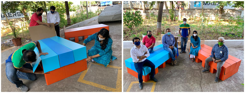 Left: Designer Rhea Shah, right, and her colleagues assemble a cardboard bed at her family's paper factory in the western Indian state of Gujarat. Right: Shah poses for a photo with family members and colleagues who helped manufacture the cardboard bed.