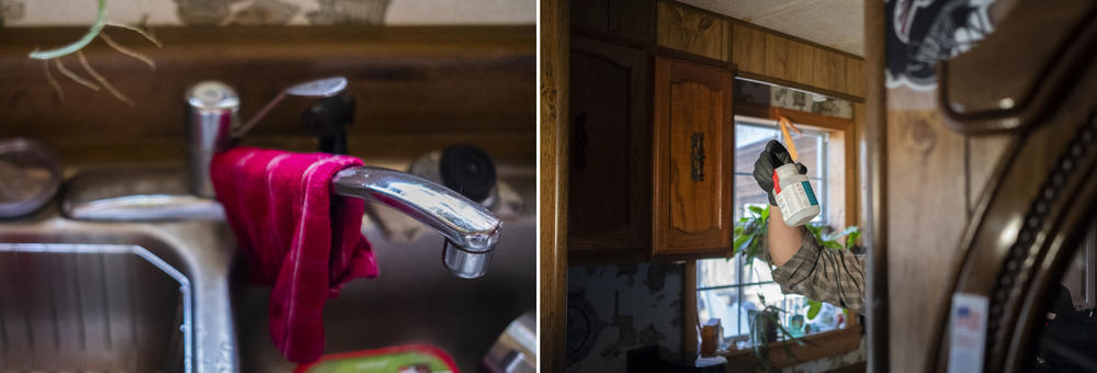 The faucet in Gloria Hammond's kitchen, left. Fletcher Sams holds a bottle of Hammond's well water from the same faucet, right.