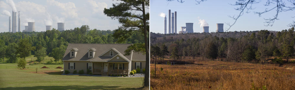 A home downhill from the Plant Scherer ash pond, left, in 2014. The same plot of land in 2020, right. Georgia Power has bought homes, demolished them and then padlocked the land on which they sat around the coal ash pond of Plant Scherer.
