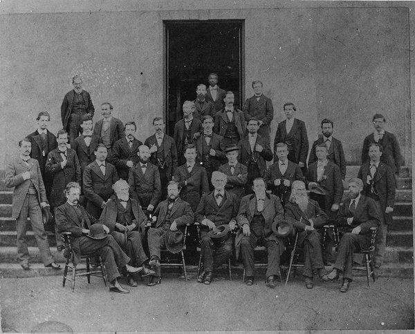 Grandison Harris stands in the back in this picture of the Georgia Medical College Class of 1877.