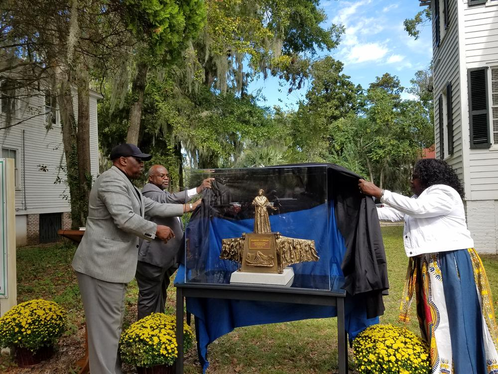 Beaufort, S.C. leaders unveil a model of the future Harriet Tubman monument. The finished product will stand about 14 feet tall.