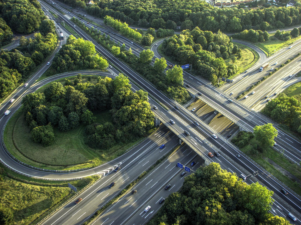 Crossing highways near Cologne, Germany, taken from a hot air balloon.