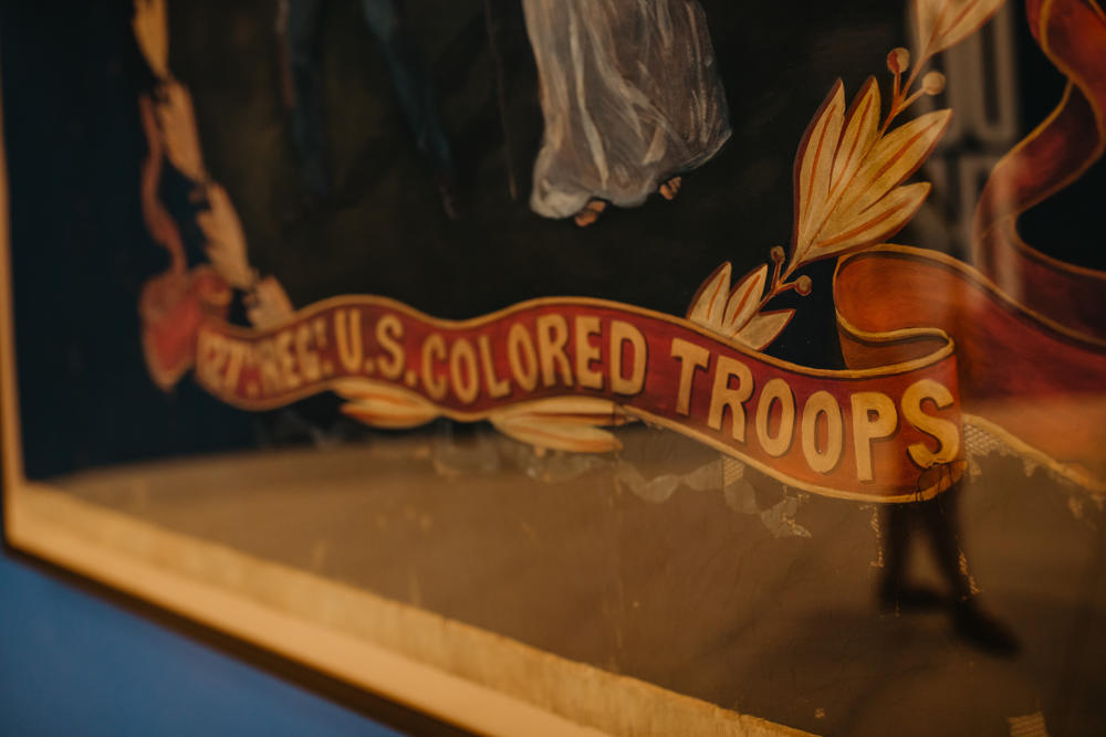The regimental flag of the 127th United States Colored Troops (USCT). Acquired by the Atlanta History Center in 2019, the flag is one of fewer than 25 known examples carried by African American regiments during the Civil War.