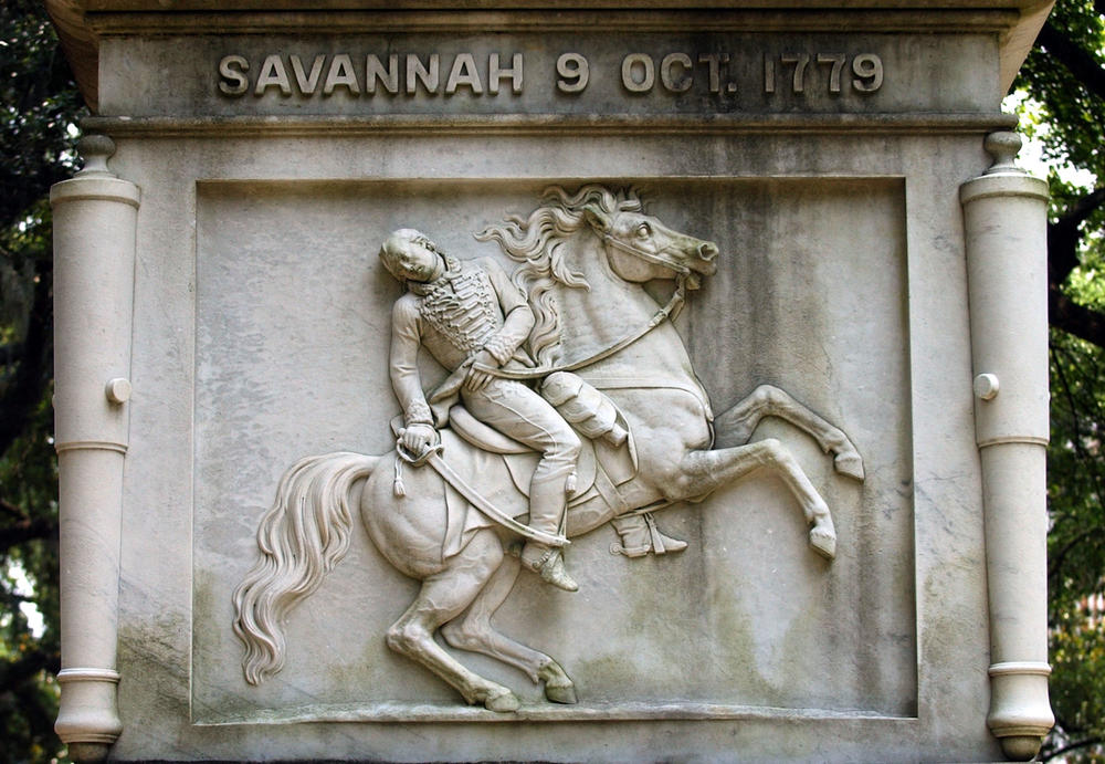 A carving of Brig. Gen. Casimir Pulaski is shown on the 54-foot monument to Pulaski on Monterey Square in Savannah, Thursday, June 23, 2005.