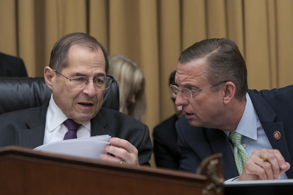 House Judiciary Committee Chairman, Rep. Jerrold Nadler, D-N.Y., left, talks with Rep. Doug Collins, R-Georgia, the ranking member, on Capitol Hill in Washington, Monday, June 10, 2019.