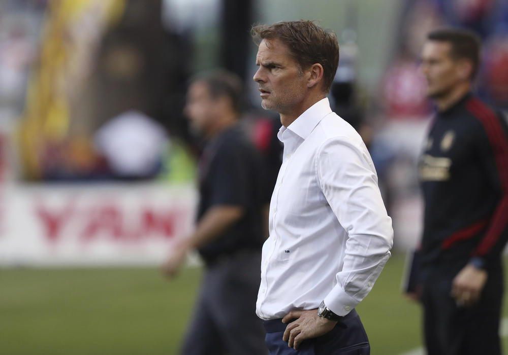 Atlanta United coach Frank de Boer watches during the second half of the team's MLS soccer match against the New York Red Bulls in Harrison, N.J.
