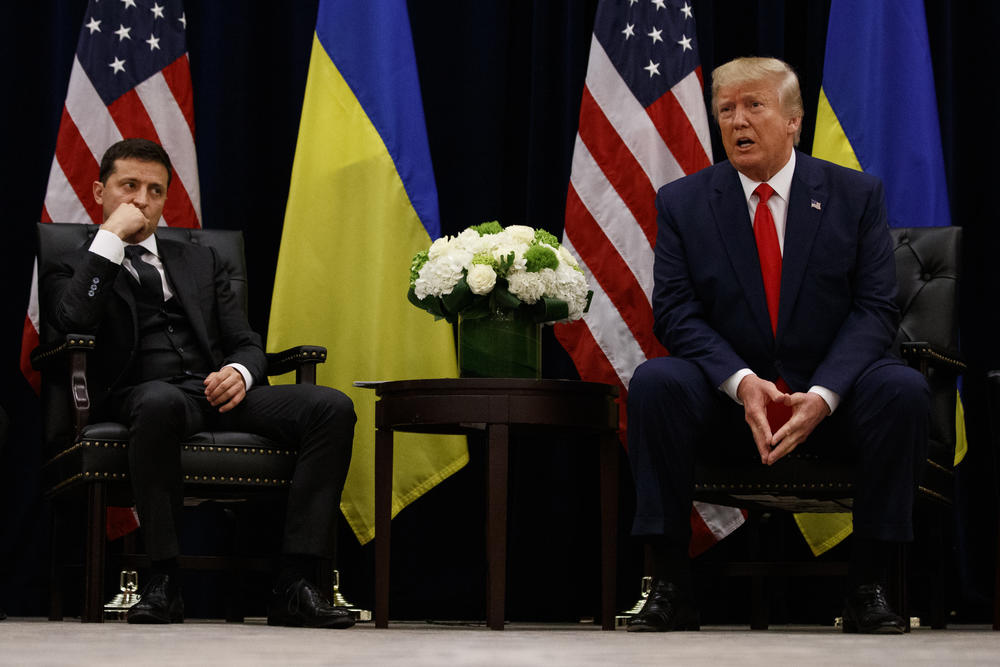 President Donald Trump meets with Ukrainian President Volodymyr Zelenskiy at the InterContinental Barclay New York hotel during the United Nations General Assembly, Wednesday, Sept. 25, 2019, in New York.