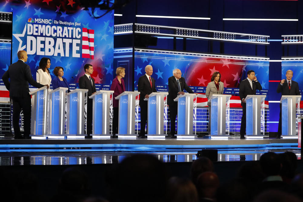 10 Democratic presidential hopefuls make their case to voters on the debate stage at Tyler Perry Studios.