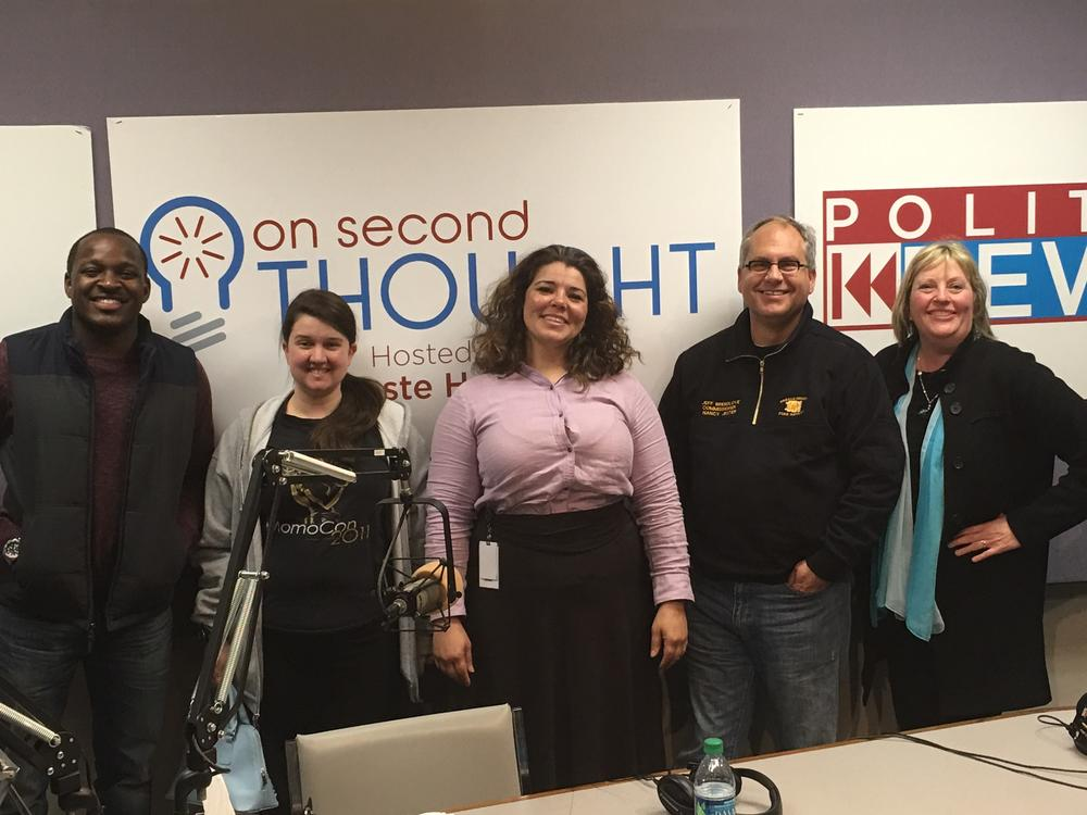 The Breakroom panel (l to r): Howard Franklin III, Jess Merriman, host Celeste Headlee, Jeff Breedlove, and Kathy Lohr.
