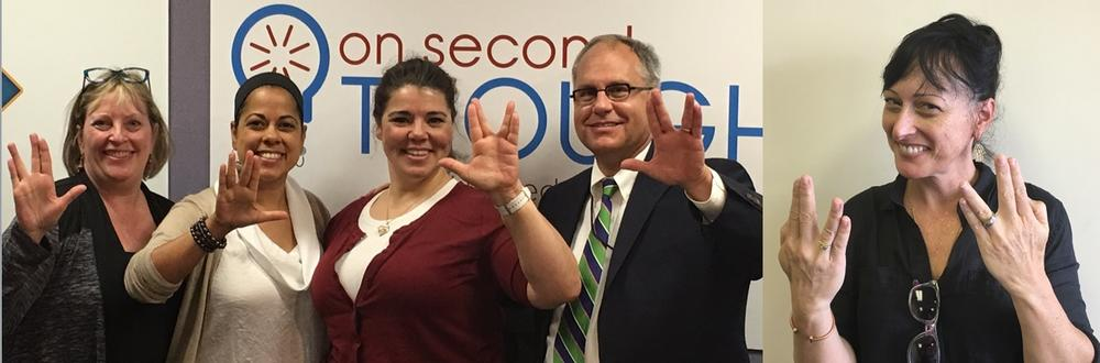 In honor of the 50th anniversary of Star Trek, the Breakroom panel does the Vulcan 'live long and prosper' sign. L-R: Kathy Lohr, Roxanne Donovan, Celeste Headlee, Jeff Breedlove, and Jessica Leigh Lebos.