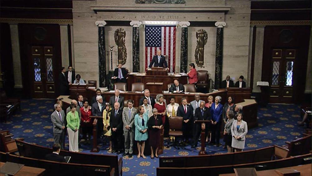 Democrats staged a sit-in on the House floor to demand a vote on gun control legislation.