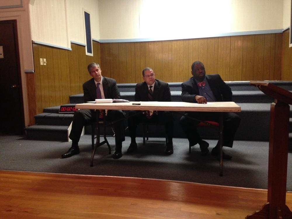 Bob Ellis, John H. Eaves, and Marvin S. Arrington, Jr. (left to right): the three members of the Fulton County Commission hosting the listening session.