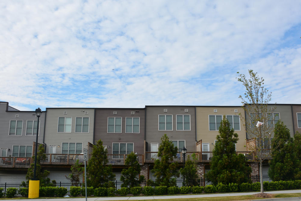 The view of the Historic Westside Village from the parking lot of a nearby Wal-Mart. Brittney Hart moved in to the complex with the help of Invest Atlanta.