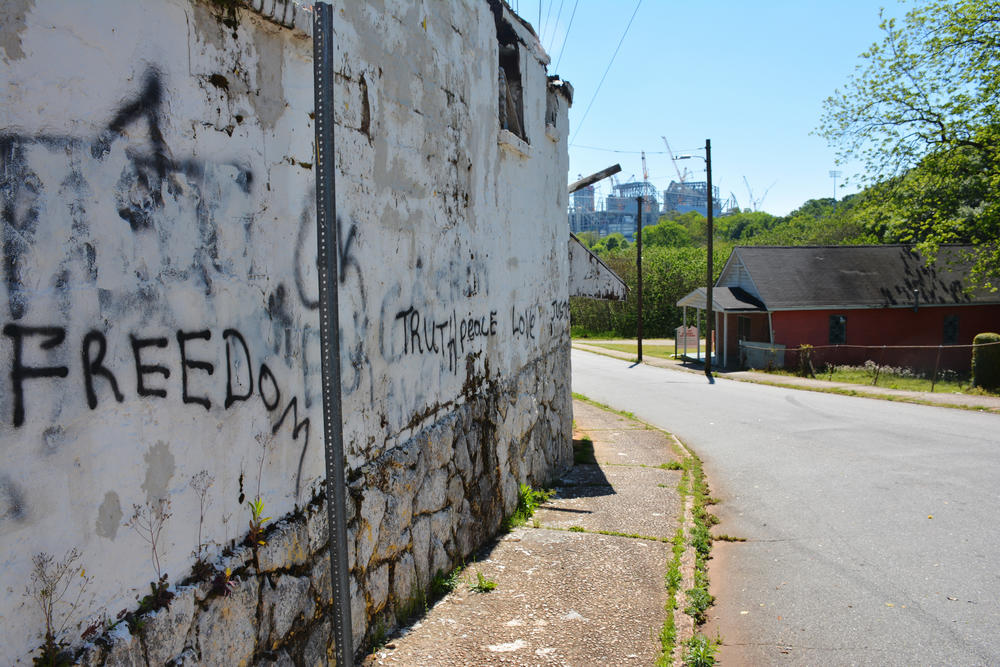 The view towards downtown Atlanta from Magnolia Street in Vine City.