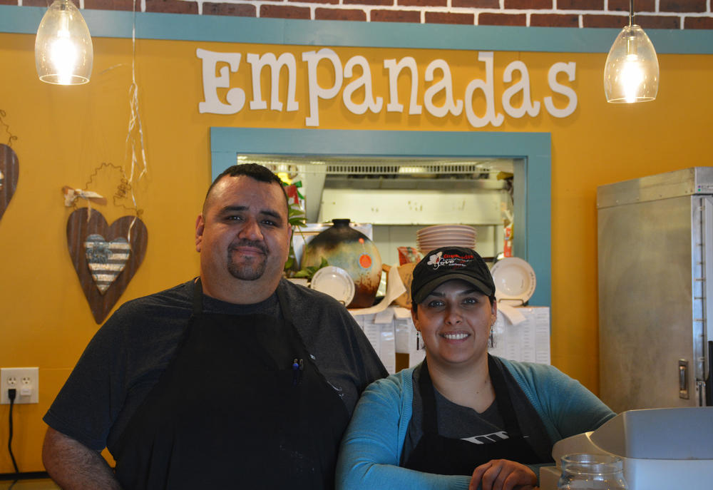 Herman Nunez and his wife, Claudia Rosa, run Love Empanadas in Dalton. Nunez said it's not always easy to have connections to the city's Hispanic and American communities, which are often divided.