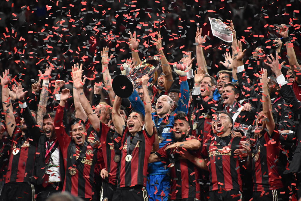 Atlanta United celebrates a victory over the Portland Timbers in the MLS Cup on Dec. 8, 2018. United won the league's top prize in only its second year of competition.