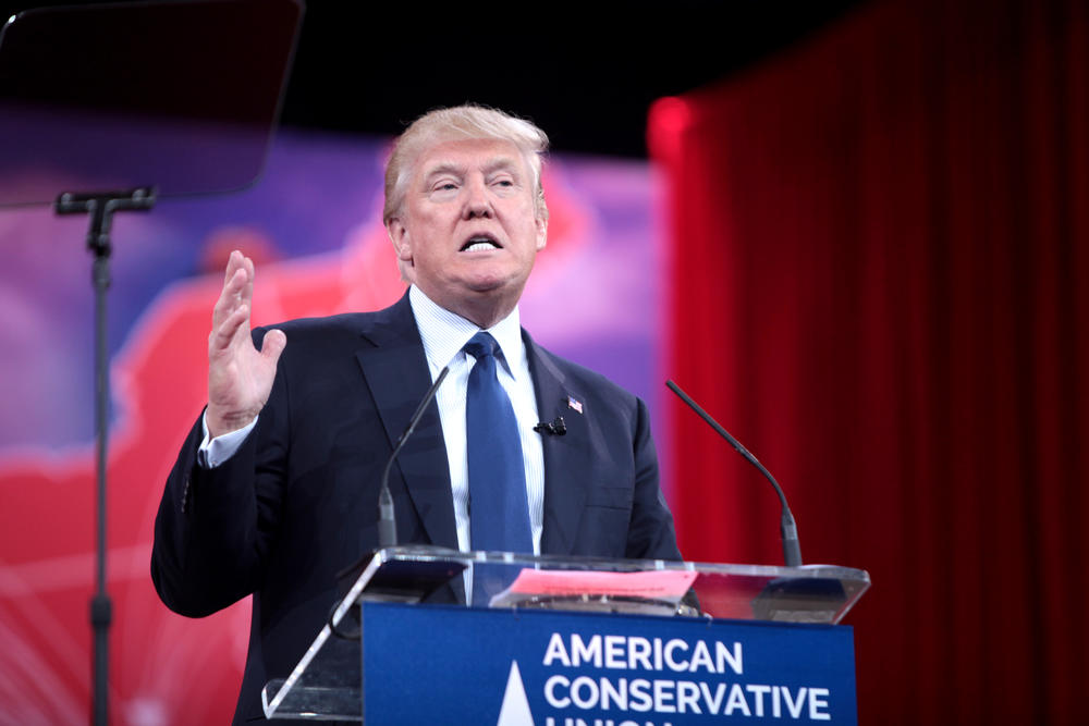 Donald Trump speaking at the 2015 Conservative Political Action Conference (CPAC).
