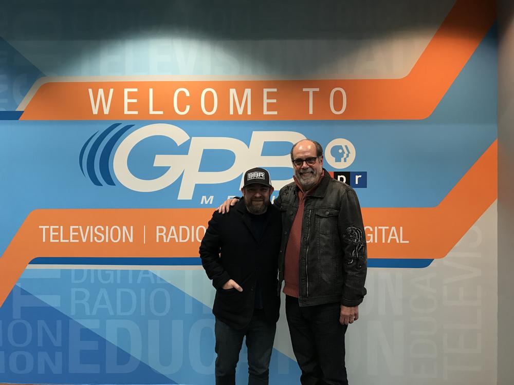 Kristian Bush (left) and Bill Nigut (right) in the GPB lobby after recording their holiday special of