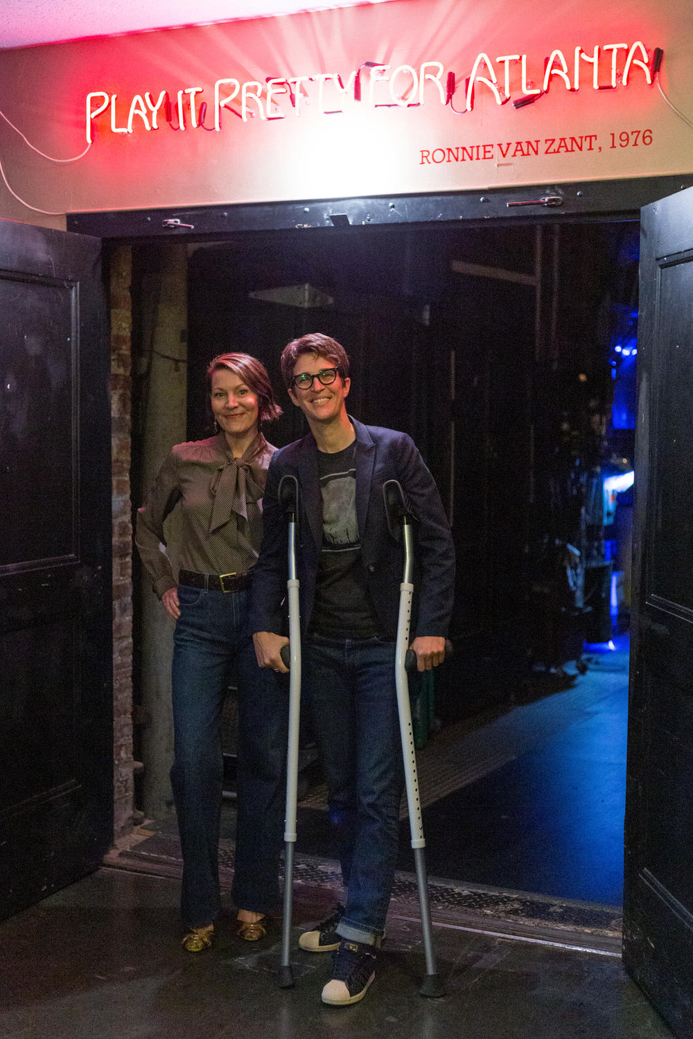 Rachel Maddow and Virginia Prescott at the Fox Theater on Oct. 13