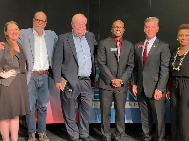 Political Rewind in Augusta, August 12, 2019. (L to R): Mary-Kate Lizotte, Bill Nigut, Jim Galloway, State Sen. Harold Jones, State Rep. Mark Newton, Monique Williams.