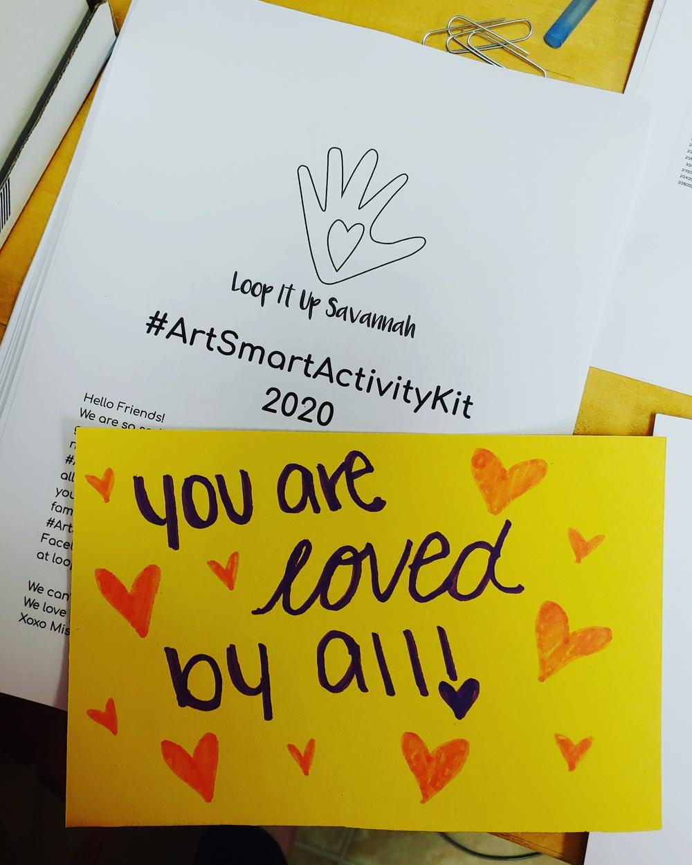 Every #ArtSmartActivityKit includes a personal note from one of the people who helped package the kit.
