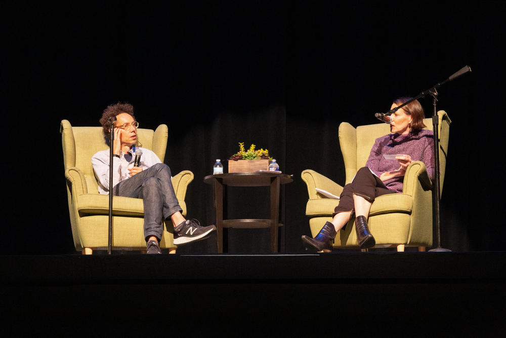 Malcolm Gladwell speaks to On Second Thought host Virginia Prescott at the Ferst Center for the Arts at Georgia Tech on Oct. 10.