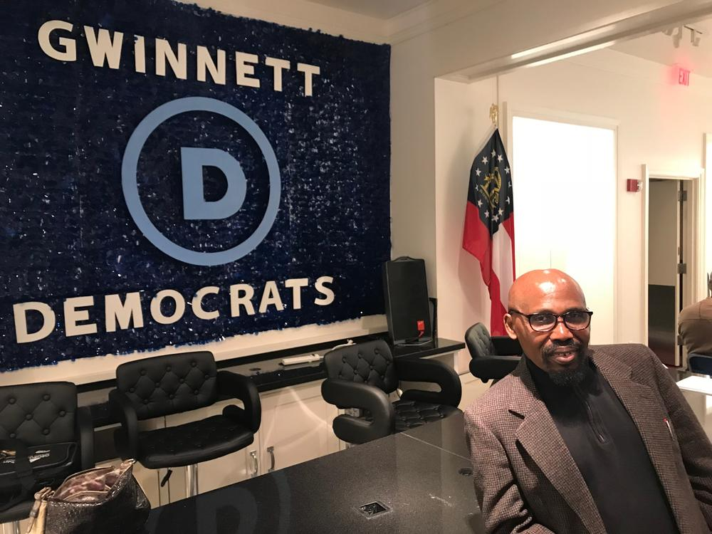 Gwinnett County Democratic Party Chair Gabe Okoye at HQ.
