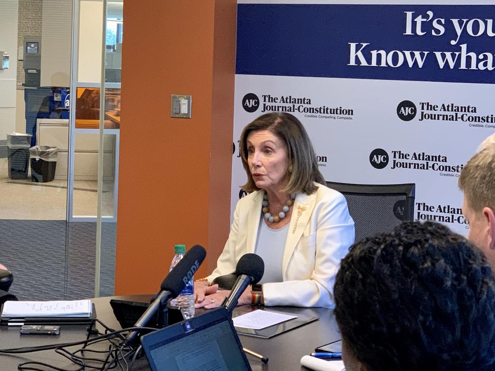 House Speaker Nancy Pelosi speaking with reporters in Atlanta on Friday, Oct. 5.