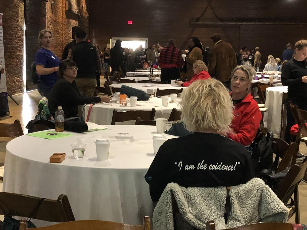 Members of the addiction recovery community gather Jan. 28, 2020, at the Georgia Freight Depot in Atlanta.