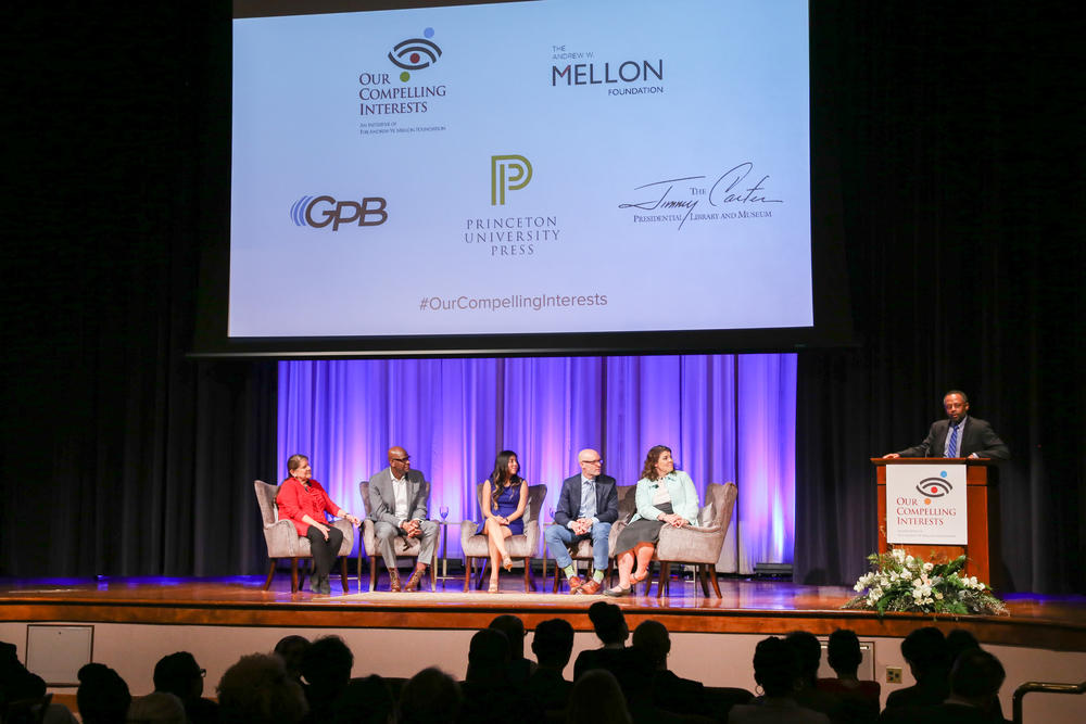 Celeste and the panel listen to Earl Lewis, the president of The Andrew W. Mellon Foundation.
