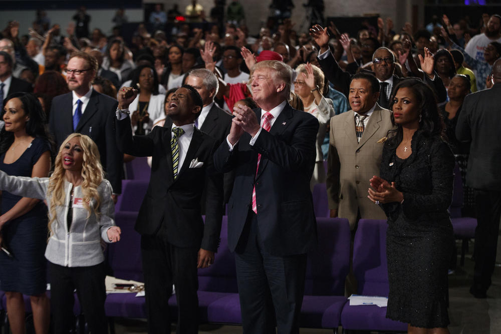 Republican presidential candidate Donald Trump shown during a church service at Great Faith Ministries, Saturday, Sept. 3, 2016, in Detroit.