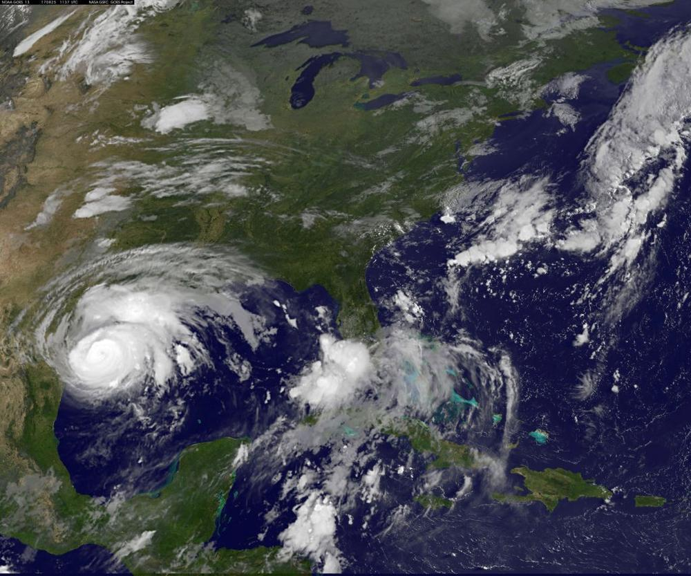 Hurricane Harvey approaches the Texas Gulf coast in this NOAA GOES East Satellite image taken on Aug. 25.