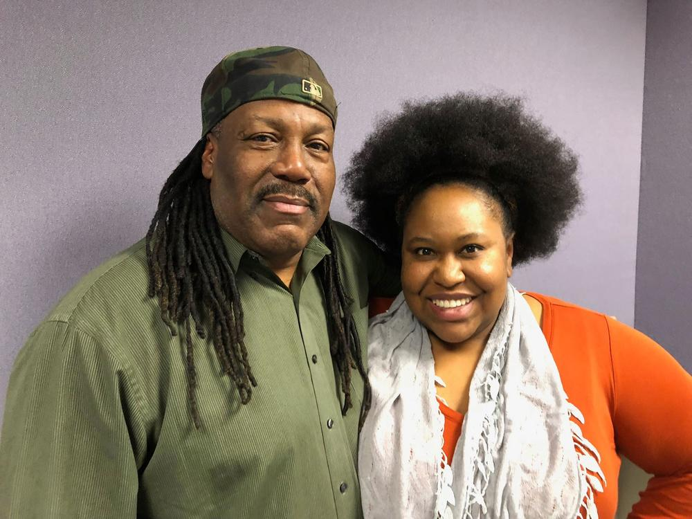 Nathaniel Kendrick with host Kalena Boller at Georgia Public Broadcasting.