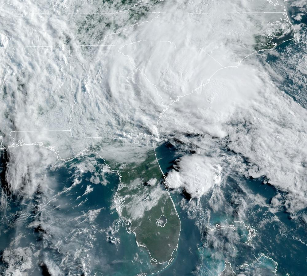 This GOES-16 satellite image taken Wednesday, May 27, 2020, at 11:40 UTC and provided by THE National Oceanic and Atmospheric Administration (NOAA), shows Tropical Storm Bertha approaching the South Carolina coast.