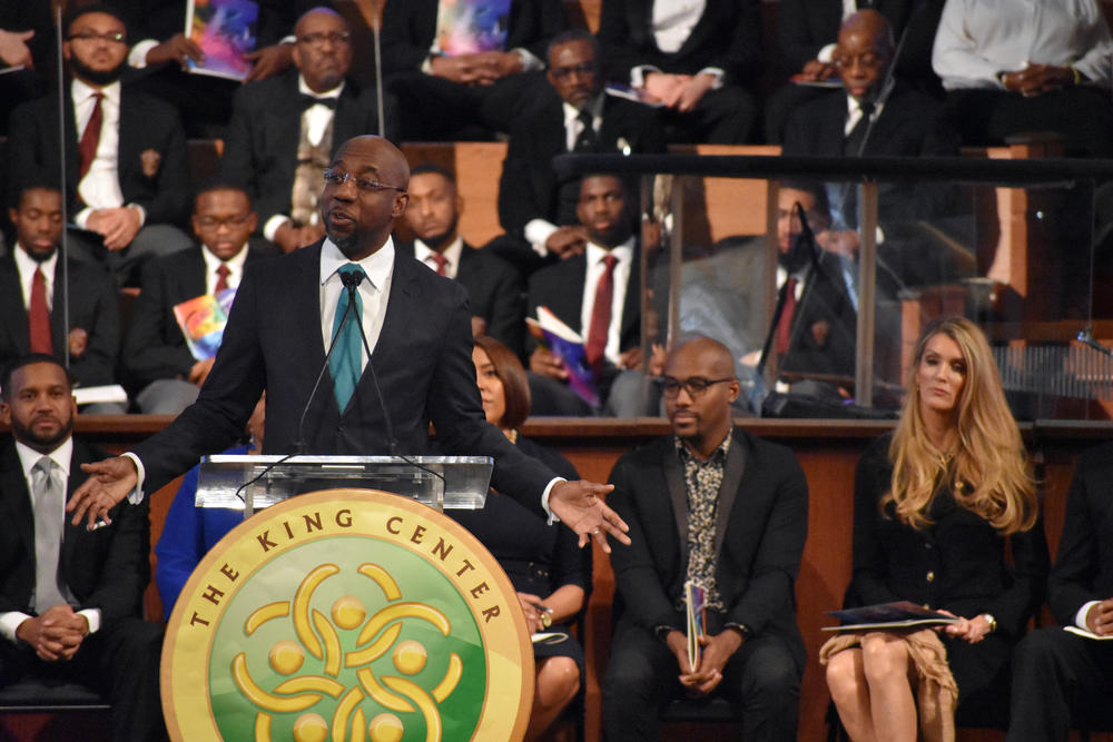 Rev. Raphael Warnock sspeaks at the annual MLK Commemorative Service in Atlanta.