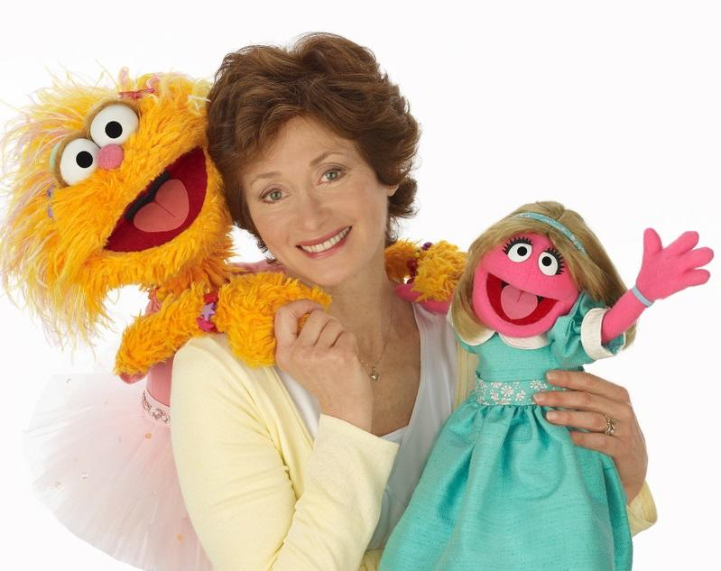 Fran Brill with  her Sesame Street chartacters, Zoe and Prairie Dawn.