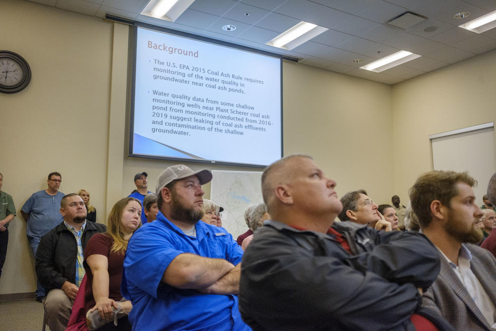 Residents of Juliette listen as the Monroe County Commission explains the proposal by scientist Avner Vengosh to test county wells for coal ash related heavy metals.