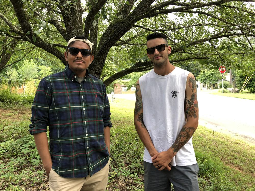 Aaron Vilchez (left) and Rob Petrecca used drugs together in the past. Now, the men are building a landscaping business and raising families.