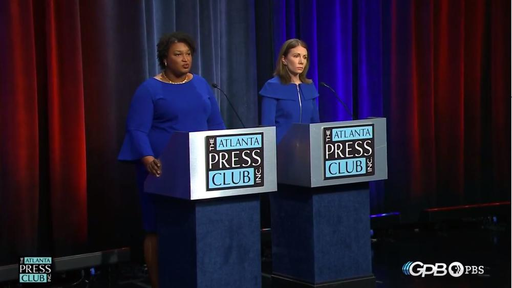 Stacey Abrams (left) and Stacey Evans (right) debate during the Atlanta Press Club/GPB Debate on Tuesday, May 16, 2018 in Atlanta