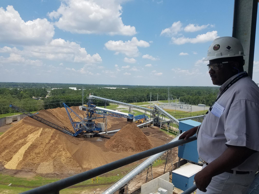Albany Green Energy Maintenance Manager Curtis Smith looks out over the pile of chipped-up wood, known as biomass, that the plant will burn to make electricity.